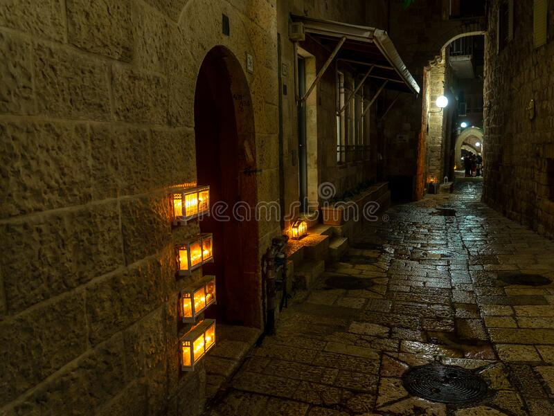 Chanuka lights on old jerusalem city street royalty free stock photos