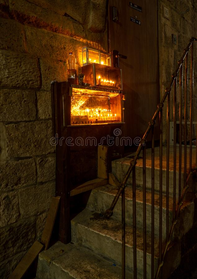 Chanuka lights on old jerusalem city street royalty free stock photography