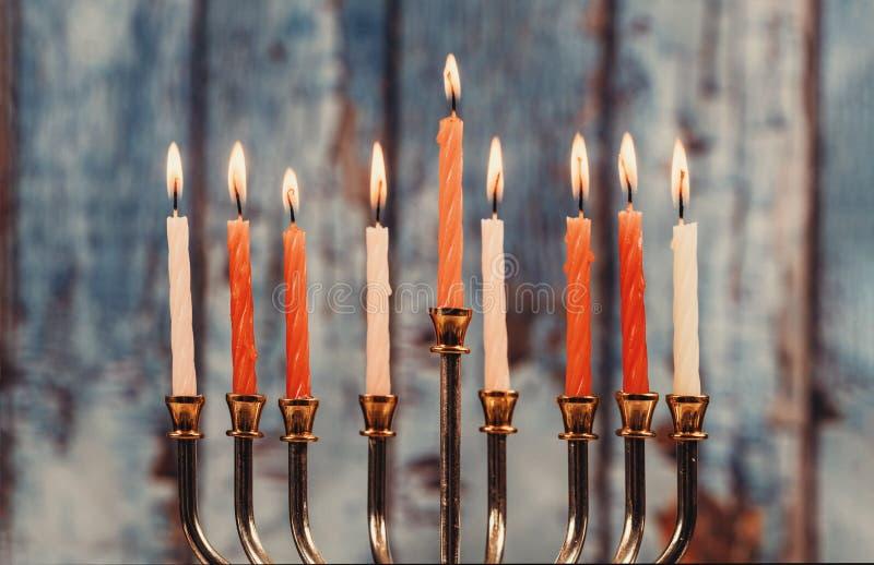 Chanukah świeczki wszystko w symbolu żydowskim wakacje fotografia royalty free