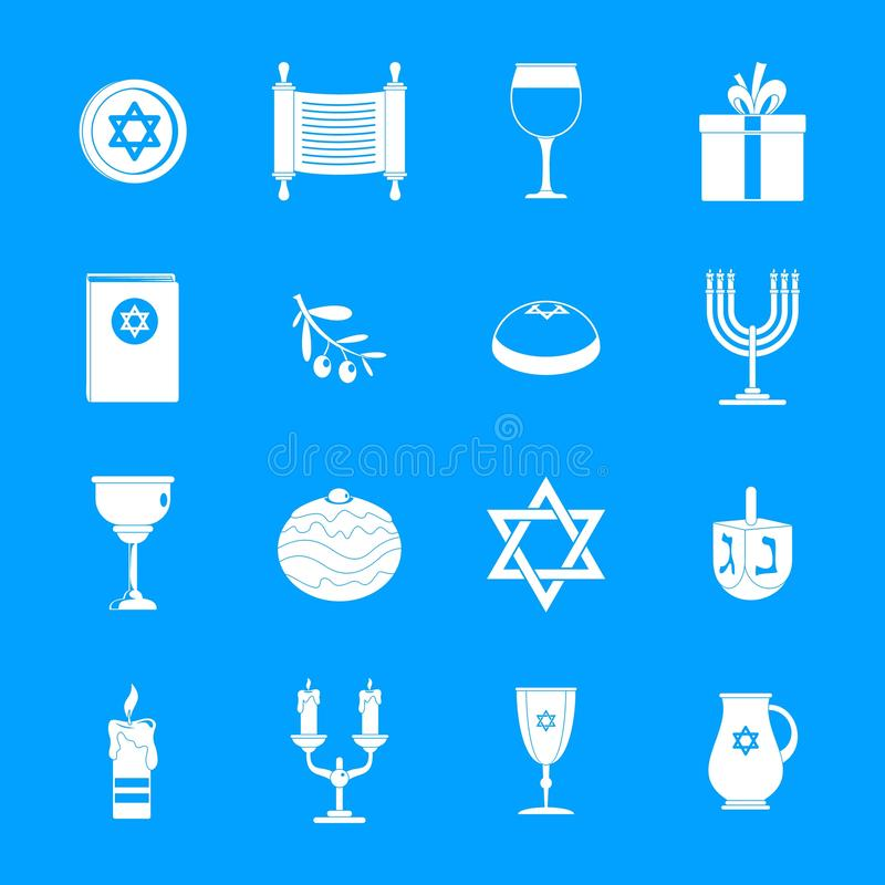 Chanukah żydowskie wakacyjne ikony ustawiają, prosty styl ilustracji
