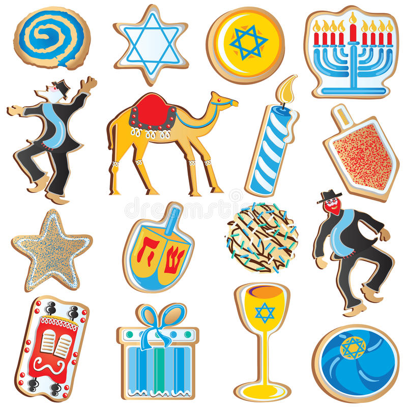 chanukah μπισκότα εβραϊκά διανυσματική απεικόνιση