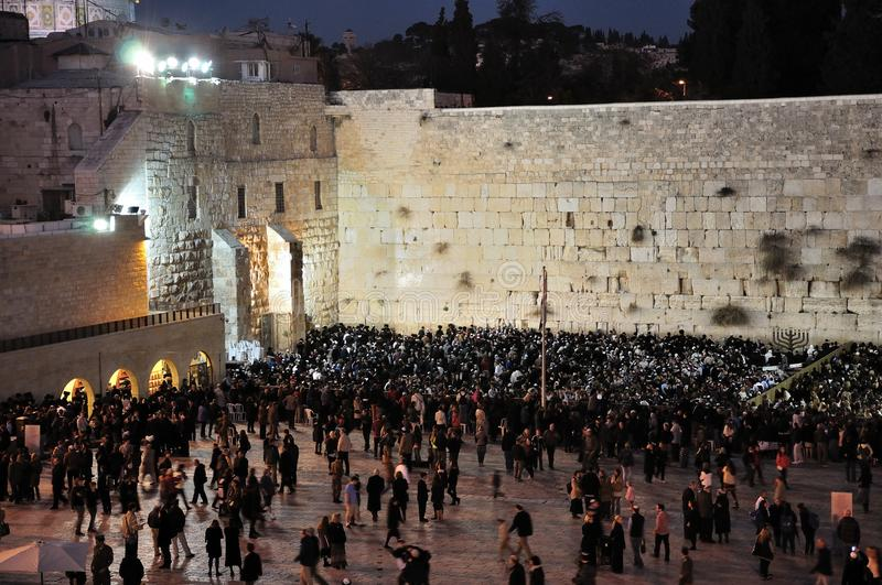 Chanukah 2011 at The Western Wall stock photography
