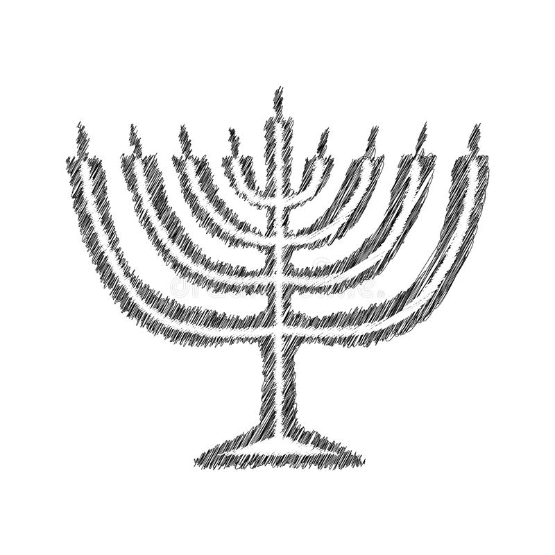 Chanukah candle black silhouette. Sketch. Hand drawing. Jewish religious holiday Hanukkah. Vector illustration on royalty free illustration