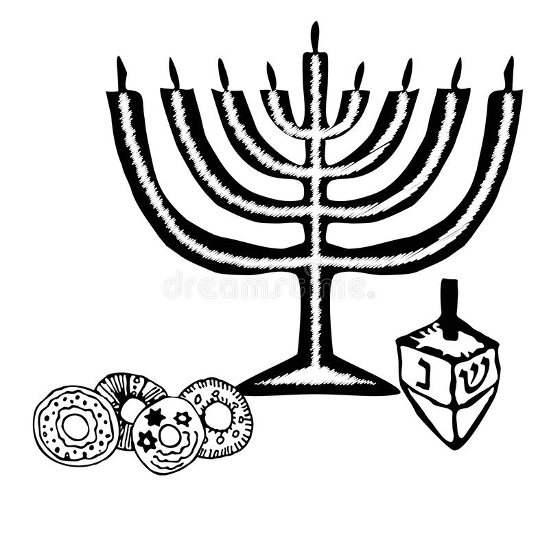 Chanukah candle, sevivon, donuts. Doodle, sketch, draw hand. Jewish religious holiday of Hanukkah. Hebrew letters vector illustration