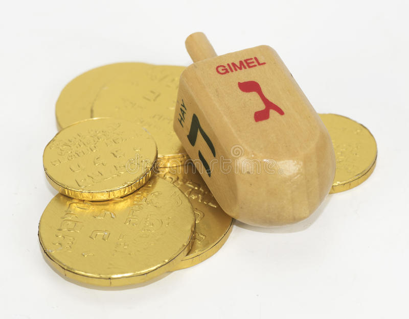 Chanukah Dreidel и монетки шоколада стоковое изображение