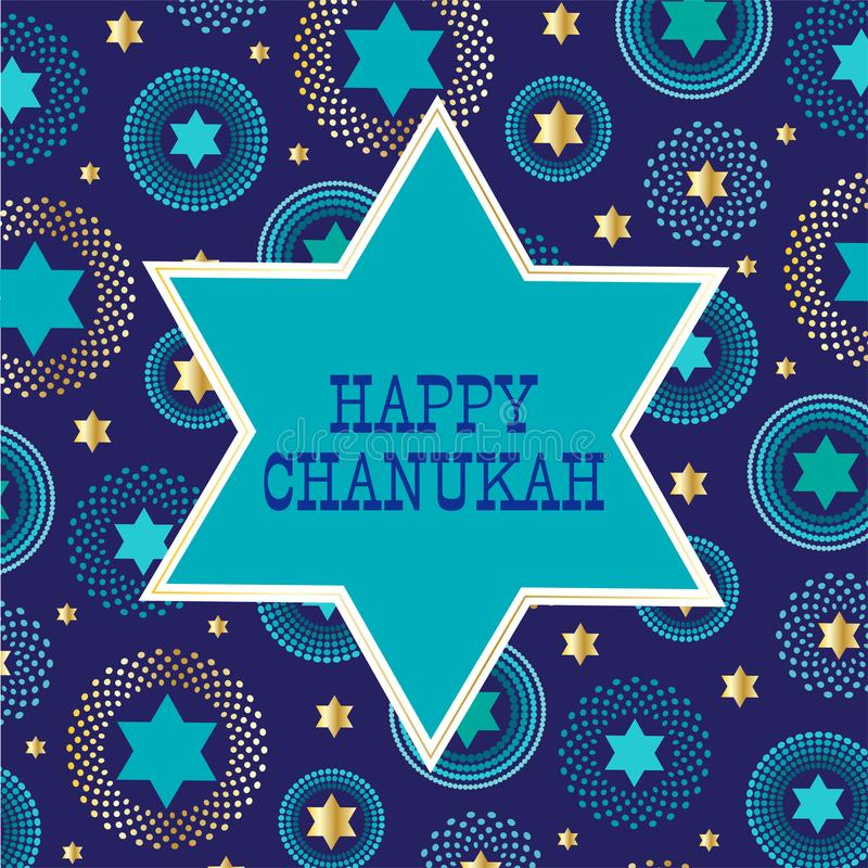 Chanukah jewish star on background pattern. Vector graphic stock illustration