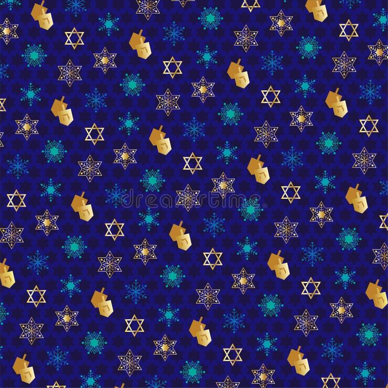Chanukah pattern with dreidels stock illustration