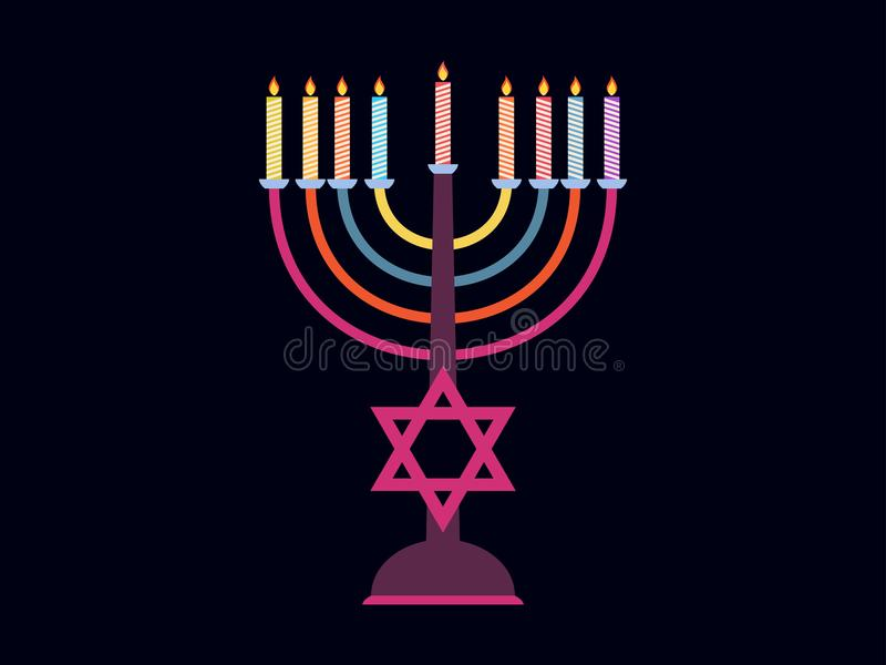 chanukah szczęśliwy Candlestick z dziewięć świeczkami różni kolory Wskazująca gwiazda wektor royalty ilustracja