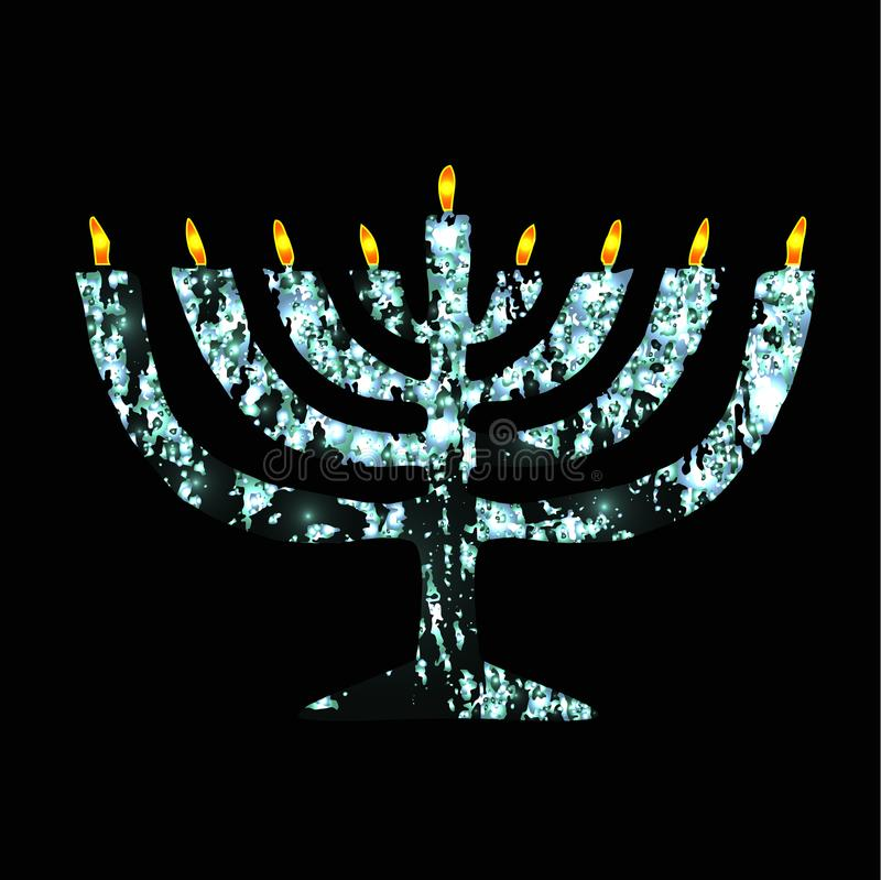 Chanukaya de prata Feriado judaico Hanukkah Ilustração do vetor no fundo preto ilustração do vetor