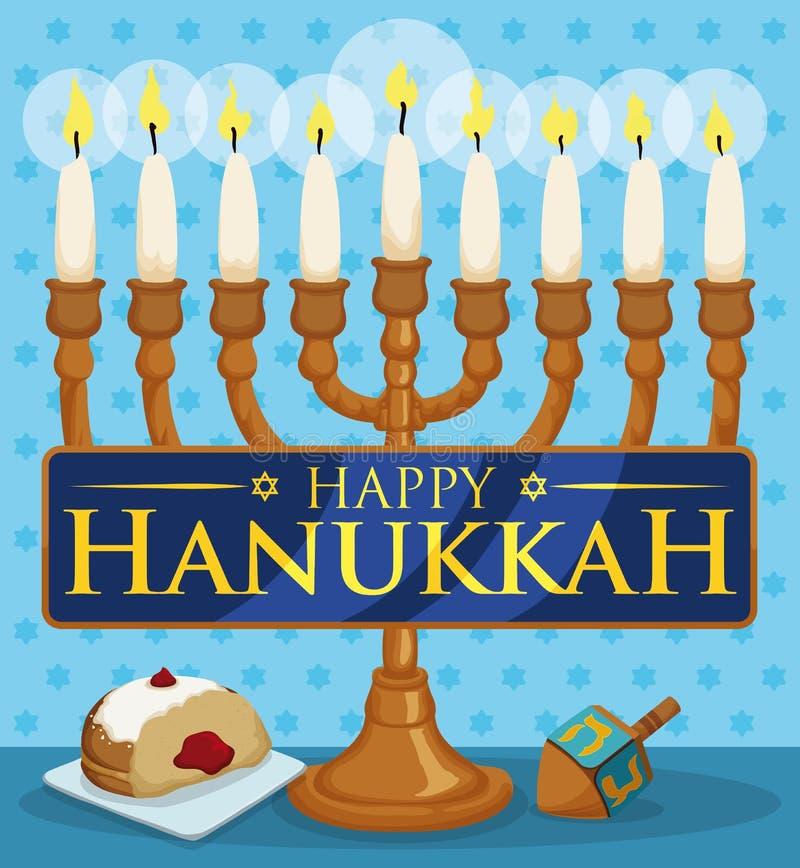 Chanukiah con las velas encendidas, Sufganiyah y Dreidel para la celebración de Jánuca, ejemplo del vector libre illustration