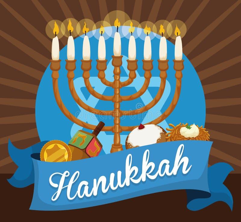 Chanukiah, Gelt, Dreidel, Sufganiyah i Latke Świętować Hanukkah, Wektorowa ilustracja
