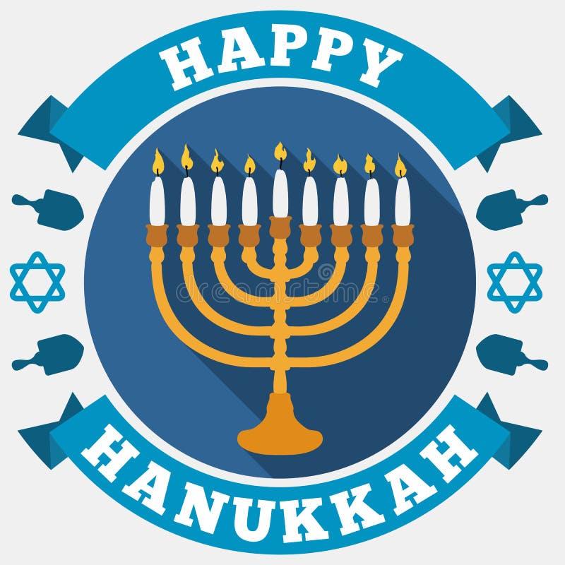 Chanukiah, rubans, étoiles et Dreidels pour Hanoucca dans le style plat, illustration de vecteur illustration stock
