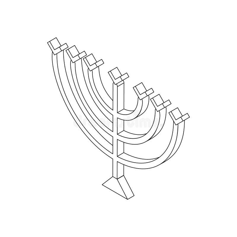 Chanukka-menorah, isometrische Ikone 3d lizenzfreie abbildung