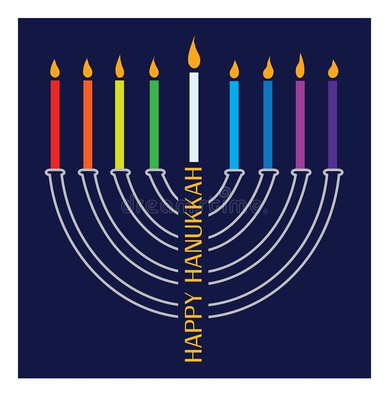 Chanukka-menorah mit brennenden Kerzen