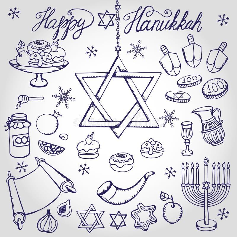 Chanukka-Symbole Gekritzel-linearer jüdischer Feiertagssatz