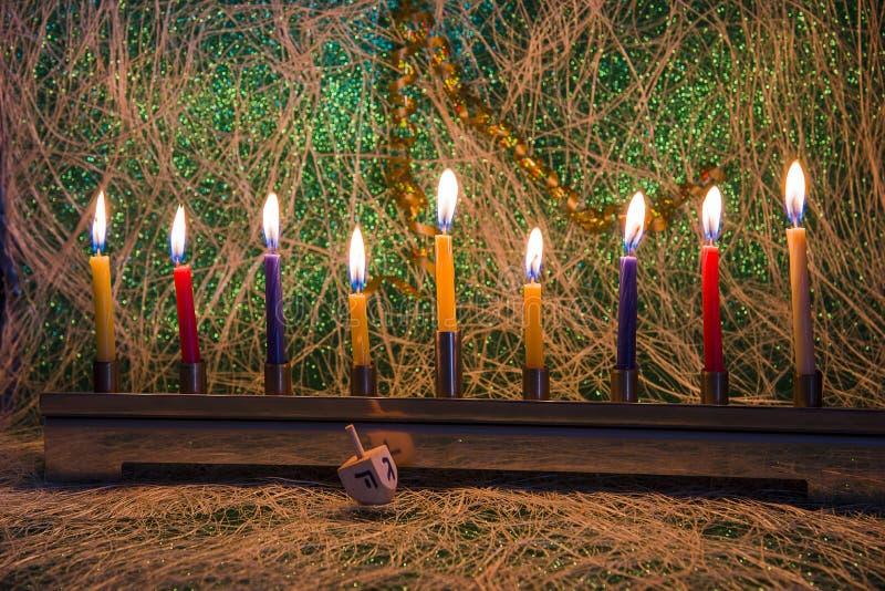 Chanukkah den judiska festivalen av ljus arkivbild