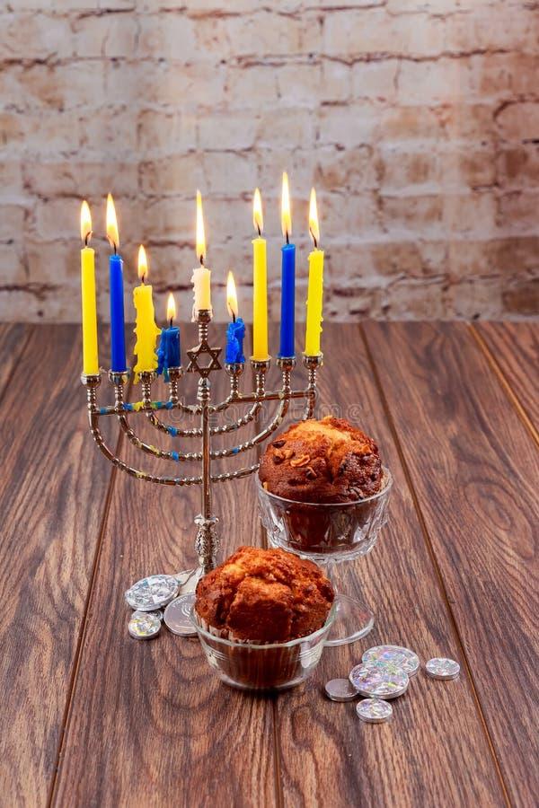 Chanukkah den judiska festivalen av ljus semestrar royaltyfri fotografi