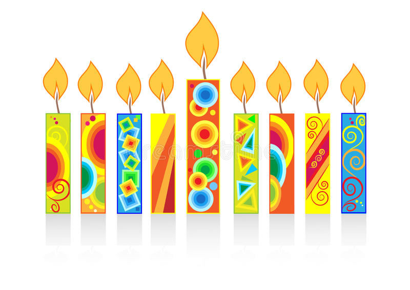 Chanukkahbakgrund med stearinljus stock illustrationer