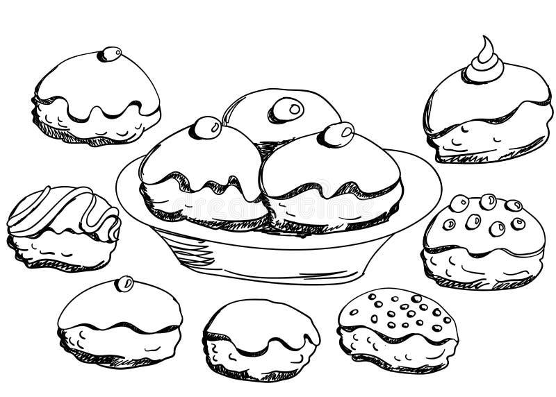 Chanukkahdonutsuppsättning stock illustrationer