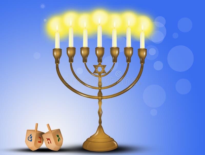 Chanukkahfestivalljus och dreidel vektor illustrationer