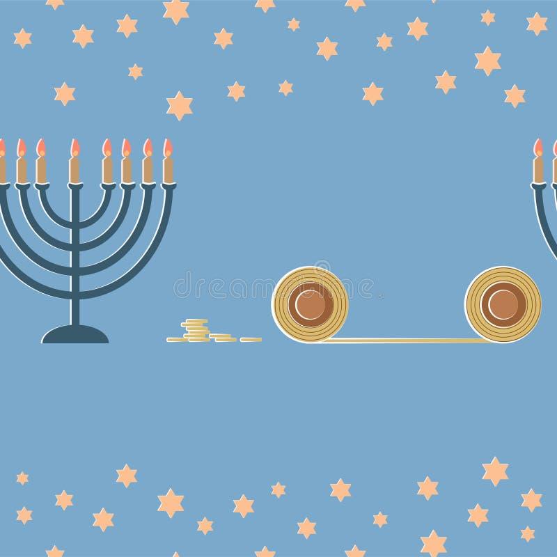 Chanukkahhälsningkort med lampan och den A Sex-pekade stjärnan stock illustrationer