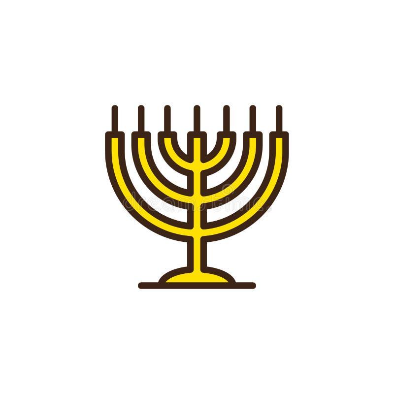 Chanukkahmenoror fyllde översiktssymbolen stock illustrationer
