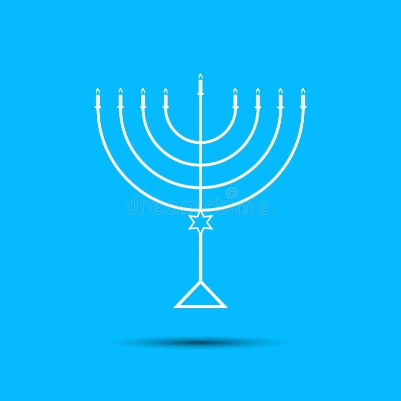 Chanukkahmenoror på ljust - blå bakgrund a royaltyfri illustrationer