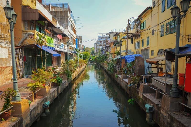 Chao Phraya-cityscape van rivierbangkok stock fotografie