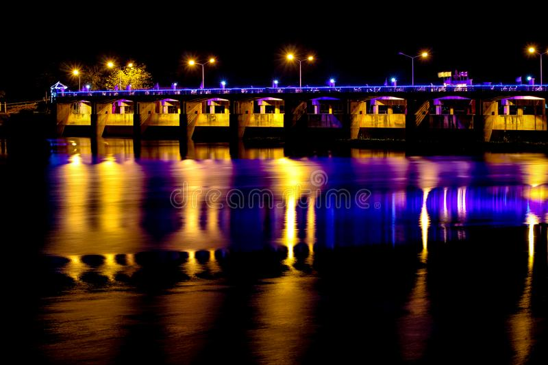 Chao Phraya Dam Chai Nat. Province at night royalty free stock photography