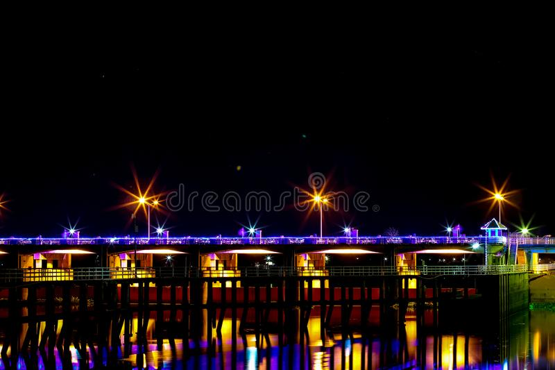 Chao Phraya Dam Chai Nat. Province at night stock image