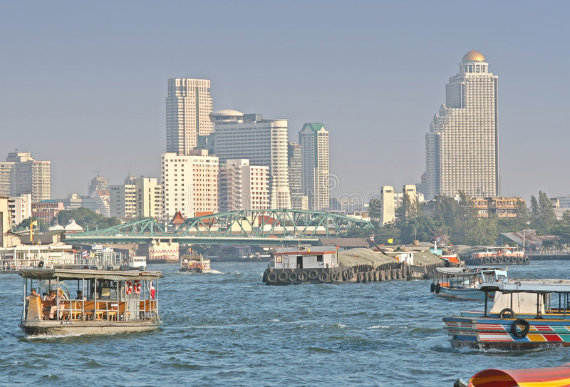 Chao Praya River in Bangkok stock photo