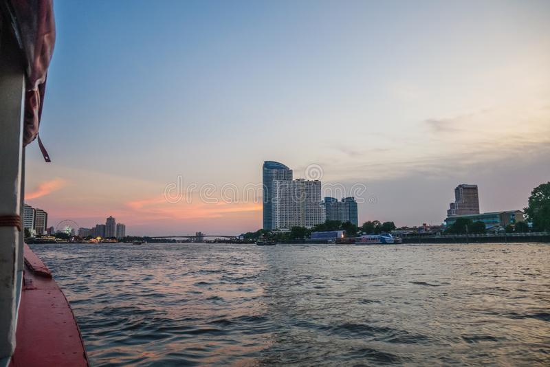 People use passenger boat to travel in Bangkok. Chao praya river,Bangkok,Thailand 13 Apr 2019: People use passenger boat to travel and commute in Bangkok stock photography