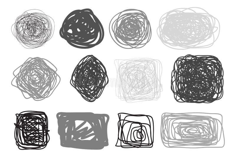 Chaosów wzory na odosobnionym bielu Chaotyczni kołtuniaści lampasy Tła z liniami i fala Sztuki tworzenie Ręka rysuję dinamic ilustracji