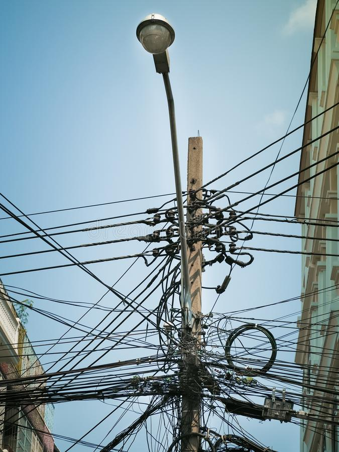 The Chaos Of Cables And Wires Stock Image - Image of hang, node ...