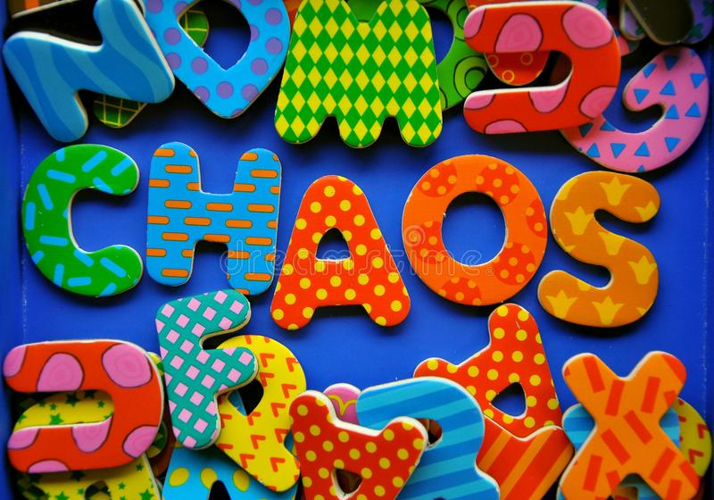 Chaos concept. Colorful letters forming the word chaos. Chaos , clutter, disorder conceptual image