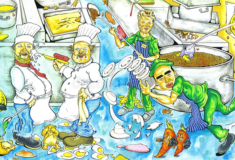 Chaos de cuisine illustration stock