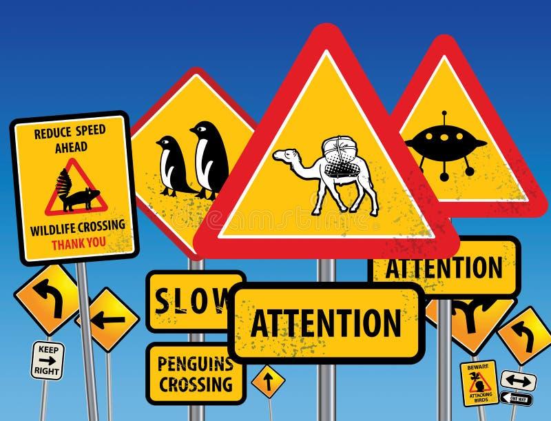 Chaos de panneaux routiers illustration libre de droits