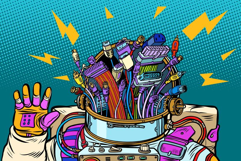 Chaos des Adapters verkabelt, Cyberastronaut von der Zukunft stock abbildung