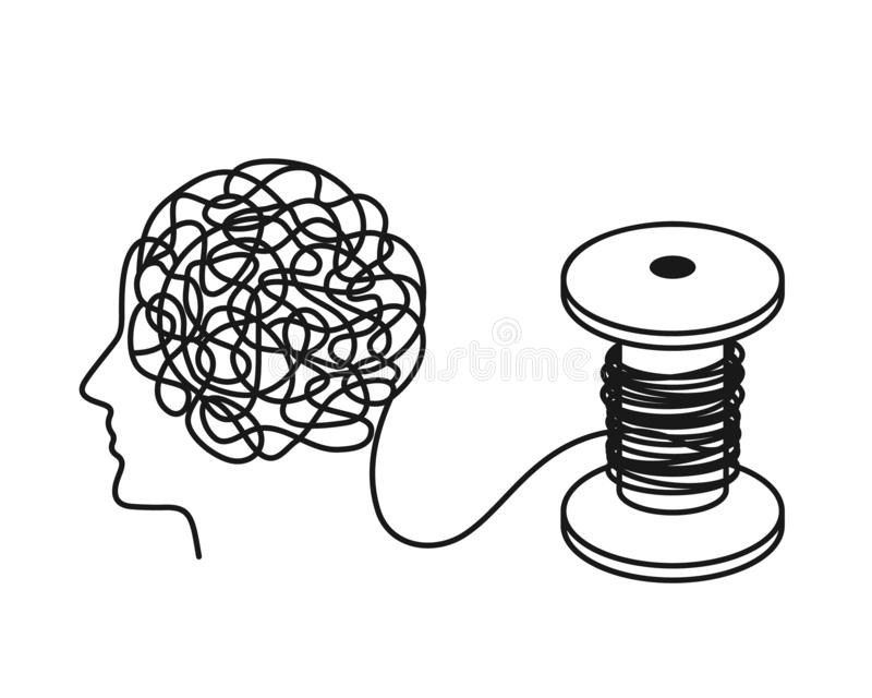 Chaos and disorder in the head turn into even equal human thoughts. Chaos and the theory of order. Flat vector illustration isolated on white background vector illustration