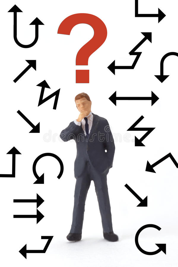 Chaos. Figurine with arrows and question mark on bright background royalty free stock photos