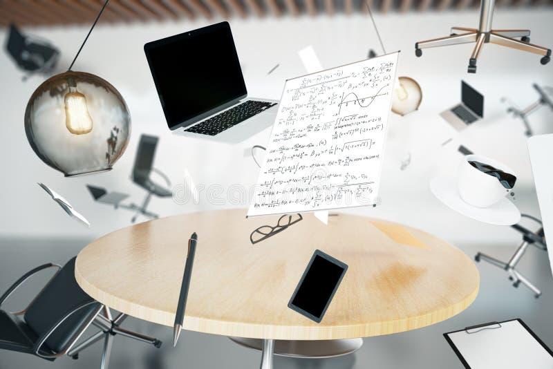 Chaos in het bureau met vliegend voorwerpen en meubilair stock foto