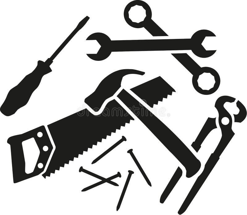 Chaos pracujący narzędzia - śrubokręt, wyrwanie, młot, saw, plier, gwoździe royalty ilustracja