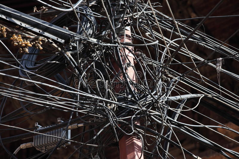 Chaos and tangle of cables. And wires in Kathmandu, Nepal royalty free stock images