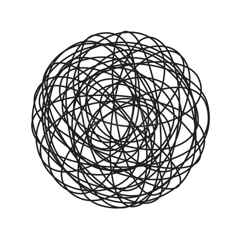 Chaos tangle circle doodle line chaotic tangled thread ball vector icon vector illustration