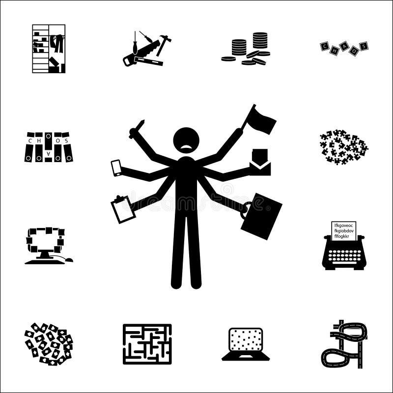 Chaos w pracy ikonie chaos ikon ogólnoludzki ustawiający dla sieci i wiszącej ozdoby ilustracji