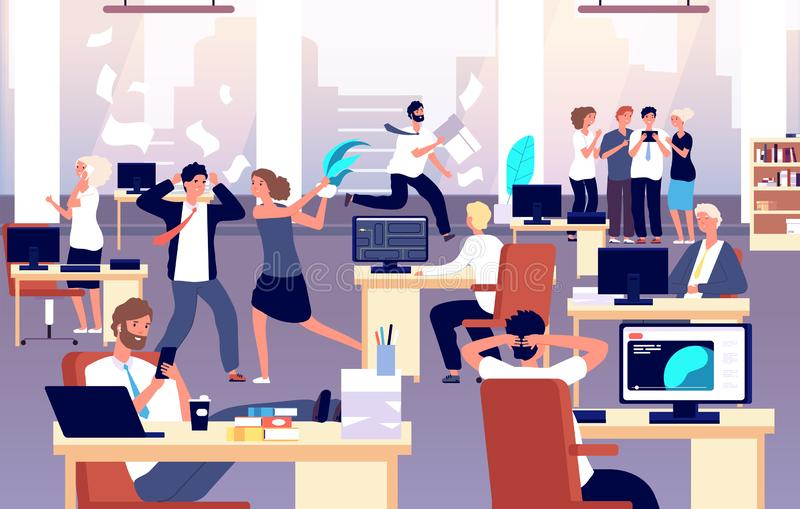 Chaos in workplace. Sleepy lazy, unorganized employees in office. Bad organization control, business corporate problems. Vector concept. Work office day, relax royalty free illustration