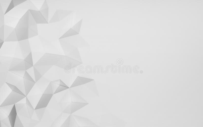 Chaotic abstract white structure, 3d render illustration.  stock illustration