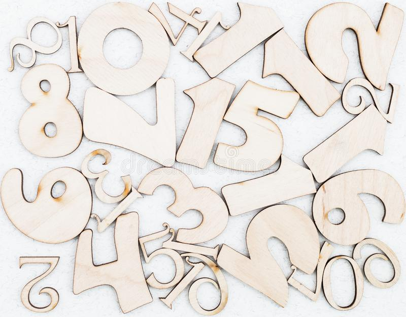 Chaotic background of numbers from zero to nine. Background with numbers. Textures of numbers stock image