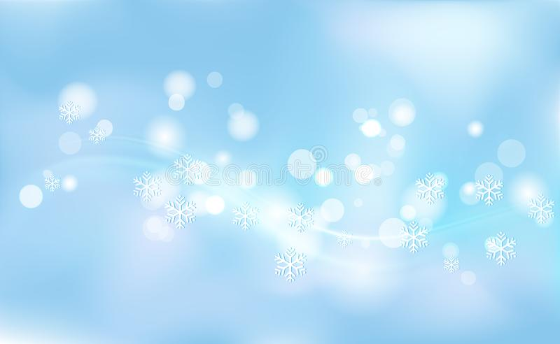 Chaotic blur for Christmas, New Years, bokeh of light snowflakes on background blue. Vector illustration for design and decorating.  vector illustration