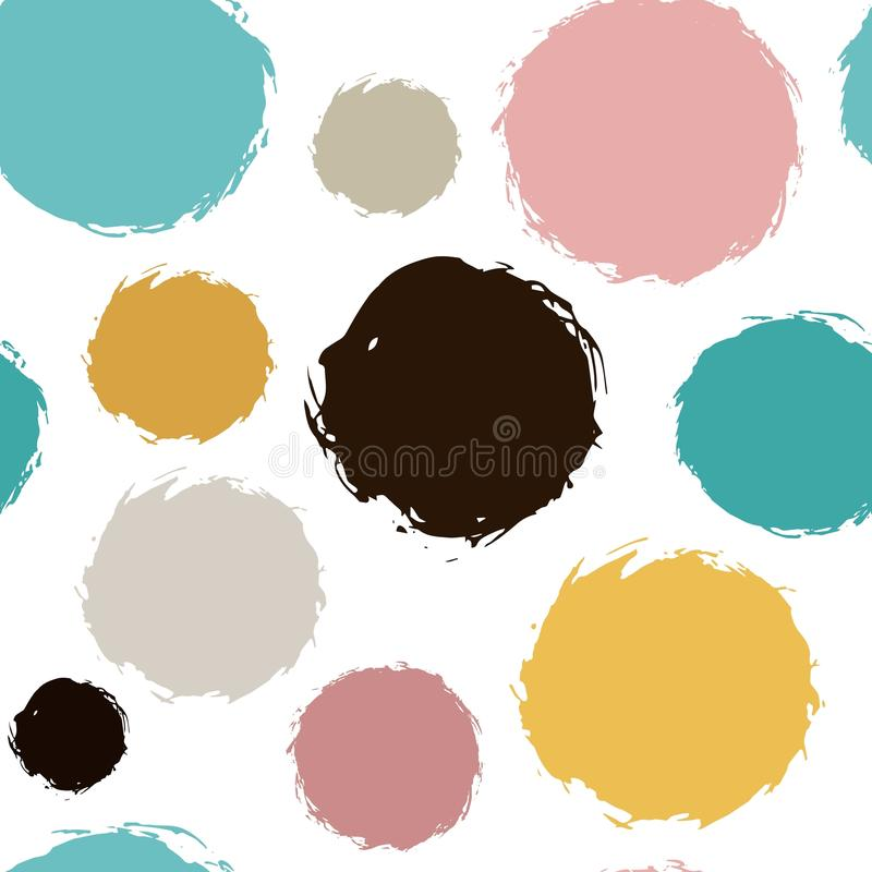 Chaotic Colorful Polka Dots. Vector painted background. Abstract dotted ornament for fabric print, greeting card, table vector illustration